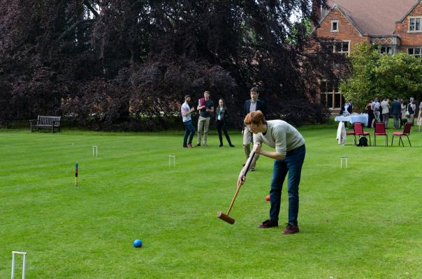 Croquet game on the Leckhampton lawn