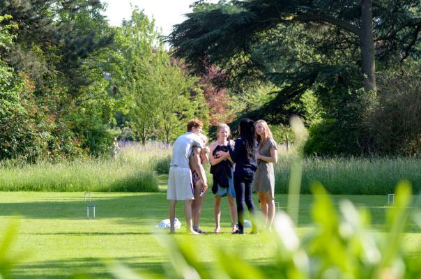 Graduate students in Leckhampton gardens