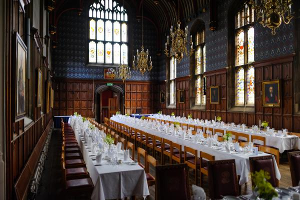 The Dining Hall set for 140 wedding guests