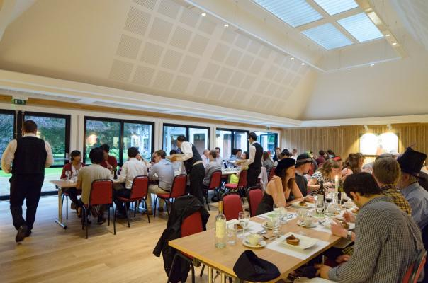 Postgraduate students at a Tuesday-night dinner in Leckhampton Hall