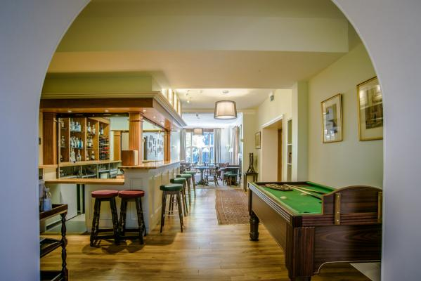 The recently refurbished Leckhampton bar, next to the new dining hall