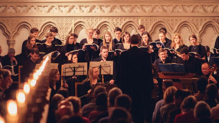 The College Choir performing in chapel, photo by Songyuan Zhao