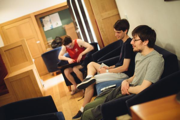Students relaxing in the Junior Common Room