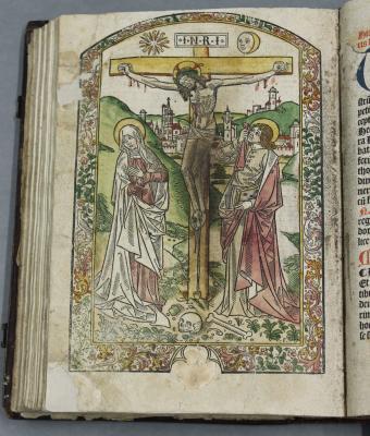 Paper repairs, venerated image of crucifixion