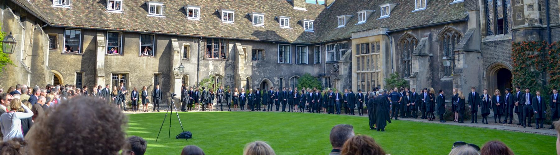 New Corpus students gather with their parents and with Fellows in Old Court